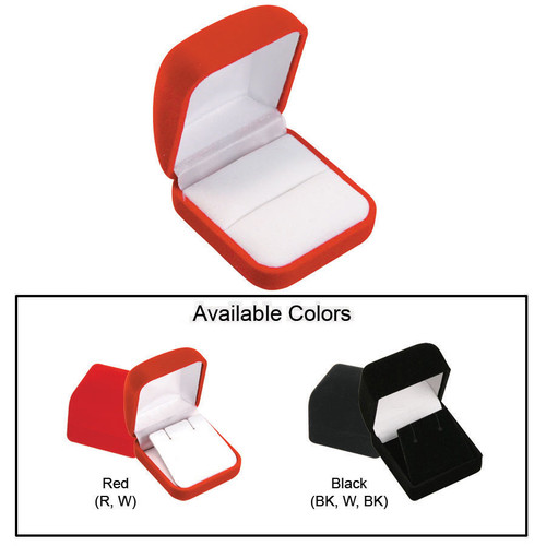 "Flocked Velour Ring Box, 2"" x 2 1/4"" x 1 1/4"", Choose from various Color"