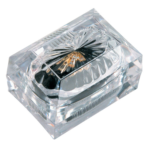 "Crystal clear Double ring box, 2 1/2"" x 1 3/4"" x 2""H"