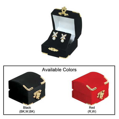 "Flocked Velour Clasped Earring Box , 2 1/8"" x 2 1/8"" x 1 3/4""H , Choose from various Color"