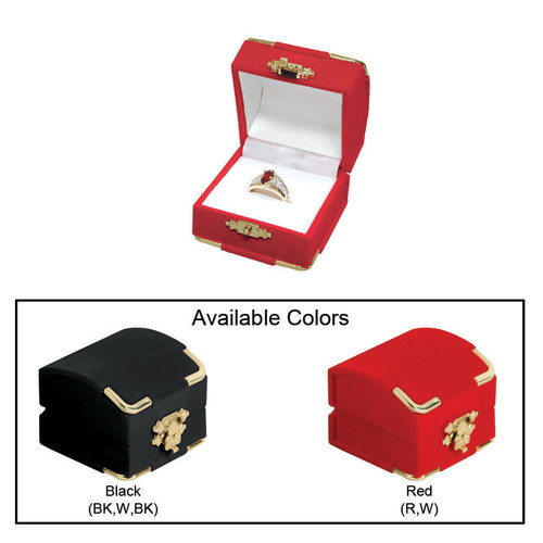 "Flocked Velour Clasped Ring Box ,  2 1/8"" x 2 1/8"" x 1 3/4""H , Choose from various Color"