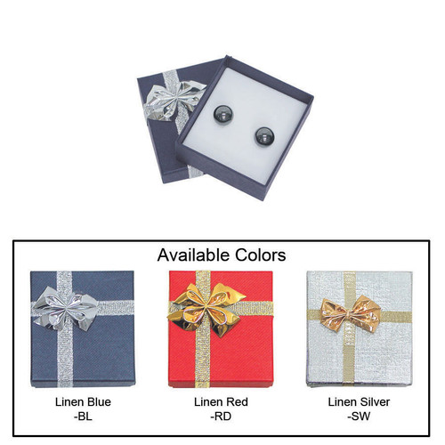 "Linen bow tie earring box , 2"" x 2 1/8"" x 7/8"" , Choose from various Color"