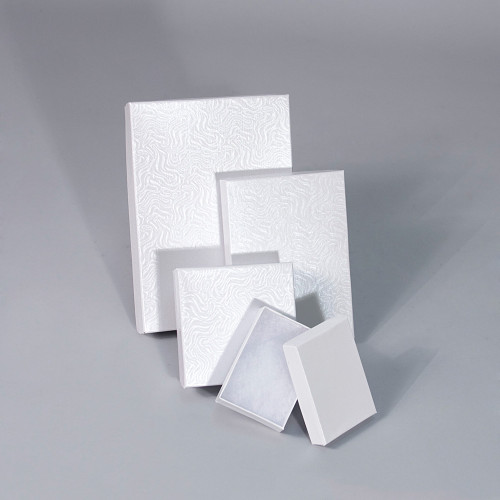 White Swirl Cotton Filled Boxes (Choose from various sizes) ,price for 100 pcs