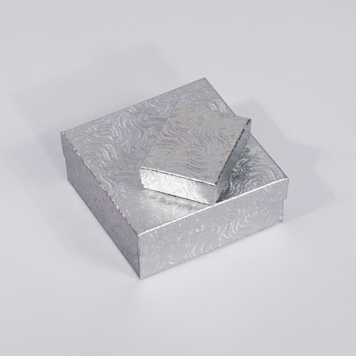 Silver Swirl Cotton Filled Boxes (Choose from various sizes) ,price for 100 pcs