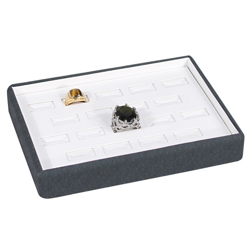 "White Faux Leather-Grey Maze Trim Display Tray , 8 1/8"" x 6 1/8"" x 1 1/2"""