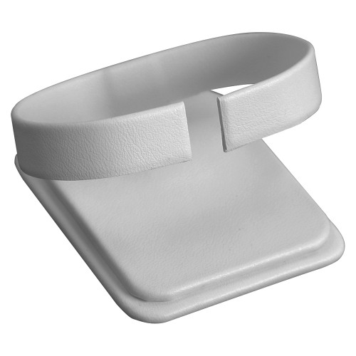 """Watch Collar White Leather , 2"""" x 2 1/4"""" x 1 5/8""""H"""