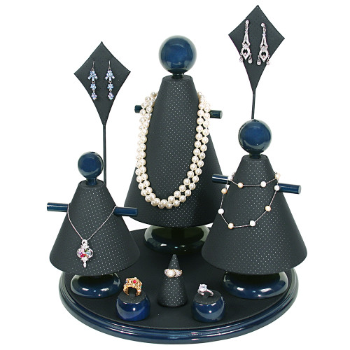 """9-Pieces Perforated Black Faux Leather with Blue Wood Trim ,13"""" Dia. x 14 3/4""""H"""