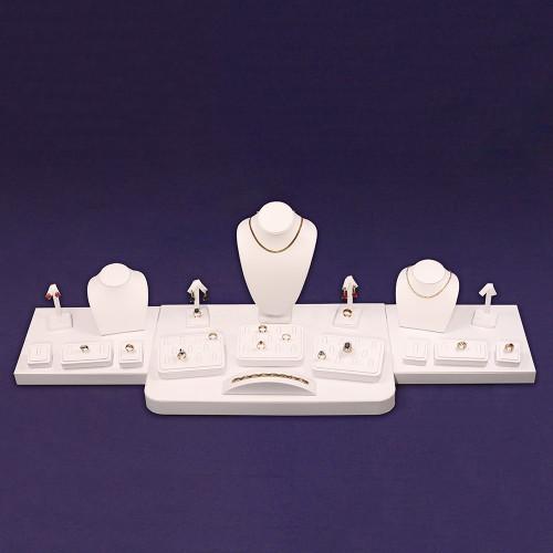 """20-Pieces White Faux Leather Set, 48""""~69"""" x 14"""" x 14""""H"""