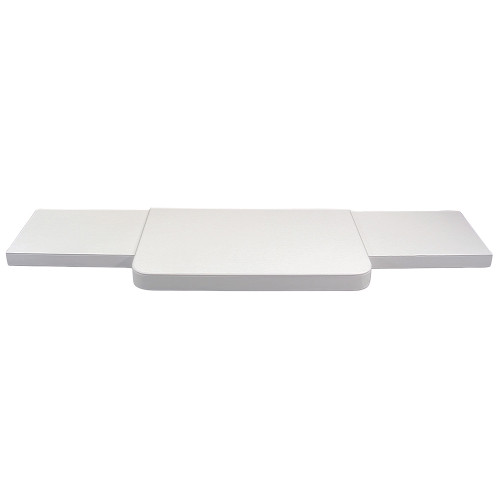 "3-Pieces White Faux Leather Base Set, 48""~69"" x 14"" x 2""H"