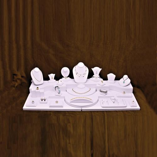 """28-Pieces White Faux Leather Set, 40"""" x 18"""" x 11""""H"""
