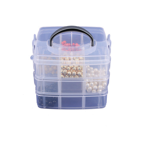 """18-Compartments, Frosted White Plastic Organizer, 6"""" x 6"""" x  5""""H"""