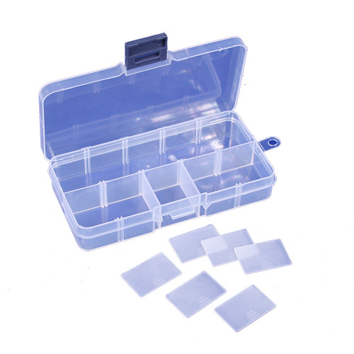 """10-Compartments, Frosted White Plastic Organizer, 5 1/8"""" x 2 5/8"""" x  7/8""""H"""