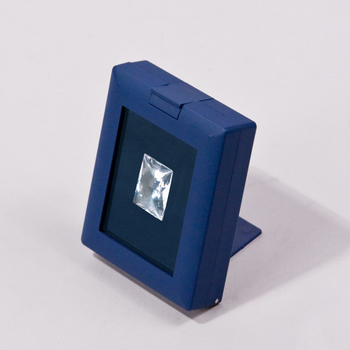 "Blue Glass Top Gemstone Display Box with Easel , Reversible Insert, 2 7/8"" x 2 1/4"" x 5/8""H"