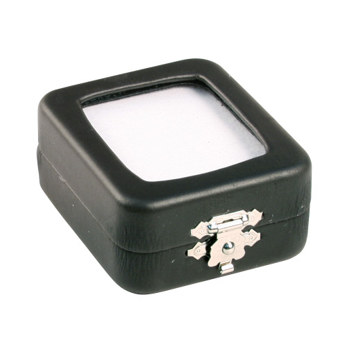 "Glass top Black Faux Leather Metal Gem Box, 2 "" x 2 3/8"" x 1""H, Double Sided Foam( White,Black)"