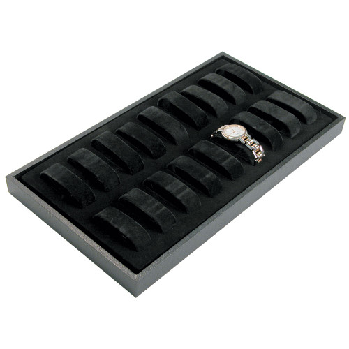 "18-Collars Watch Case, 14 3/4"" x 8 1/4"" x 1 1/8""H, Black Leatherette Wooden Tray"