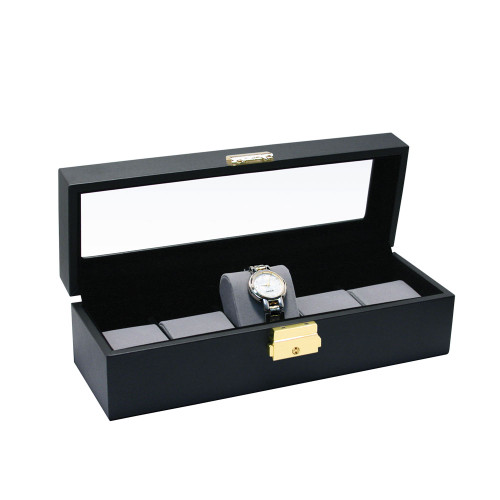 "Glass top View, Black Leather / Grey Velvet 5-Pillow Wooden Watch Box, 11 5/8"" x 4"" x 3 1/4""H"