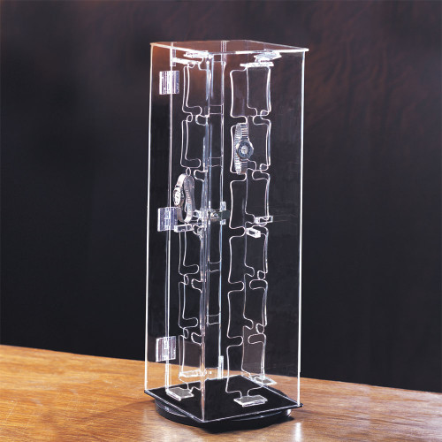 "Acrylic 48-Watches Display Case, 7"" x 7"" x 22""H"