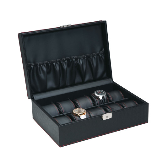 "10-Watches , Simulated Carbon fiber Pattern/Black Leather inside Wooden Case, 11 5/8"" x 8"" x 3 1/4""H"
