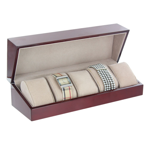 "Rosewood / Almond  5-Pillow Watch Case, 11 7/8"" x 3 7/8"" x 3 1/4""H"