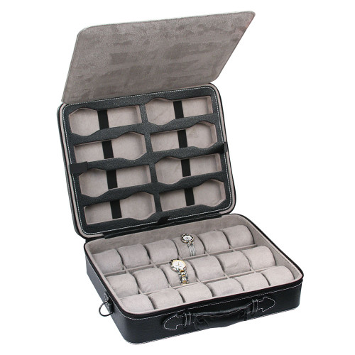 "Light Weight 26-Watches Case, Black Leather/Grey Velvet, 13 3/4"" x 11 1/8"" x 3 3/4"""