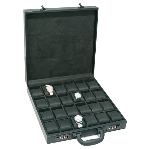 "Black Leather 24-Watches Attache Case, 14 7/8"" x 14 7/8"" x 3 1/2""H"