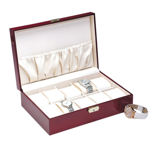 "Rosewood 10-Watches Case,Beige Leather Pillow, 11 5/8"" x 8"" x 3 1/4""H"