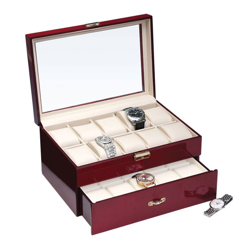 "Glass View, 20-Watches Rosewood/Beige Faux Leather Watches Case, 11 5/8"" x 8"" x 6 1/2""H"