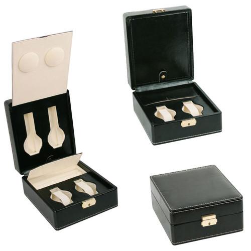 """4-Watches ,Ring Slot Case, Black Leather/Beige Velvet inside, 6 7/8"""" x 8"""" x 3 3/8""""H"""