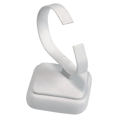 """Watch Display, White Leather., 2 1/4"""" x 2 1/4"""" x 3 1/2""""H"""