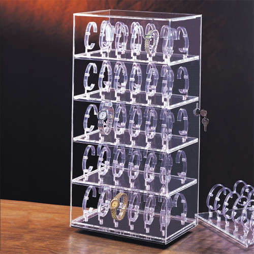 "60-Watches  Acrylic Display Case, 12"" x 8 1/2"" x 24 1/2""H"