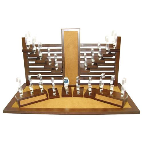 """20-Watches Display Set, Chestnut Suede / Vintage Wood Trim, 25 3/4"""" x 13"""" x 16 1/2""""H"""