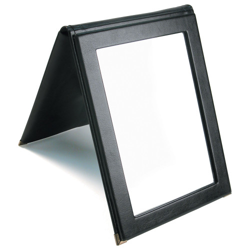 "Folding Glass Mirror, (Snap), 7 1/4"" x 10""H, Faux Leather, Choose from various Color"