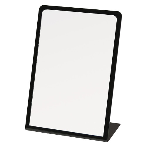 "Black Acrylic Frame Glass Mirror, 7 7/8"" x 11 1/2""H"