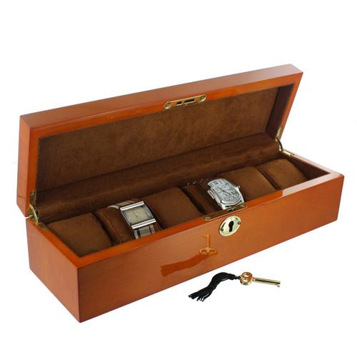 "6-Watches Oak Wood Case , 14 1/4"" x 4 3/8"" x 3 3/8""H ,camel"