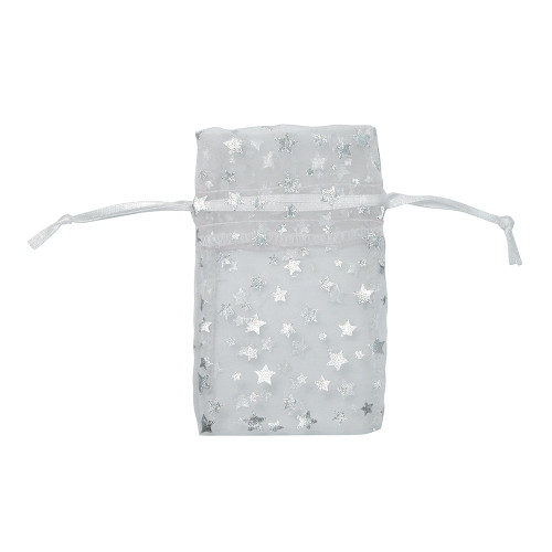 "4"" x 5"",Organza Drawstring Pouches with Stars, price for Dozen,Buy More Save More"