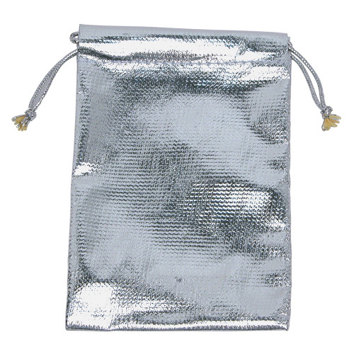 "4"" x 5"", Metalic-Silver Drawstring Pouch, price for Dozen,Buy More Save More"