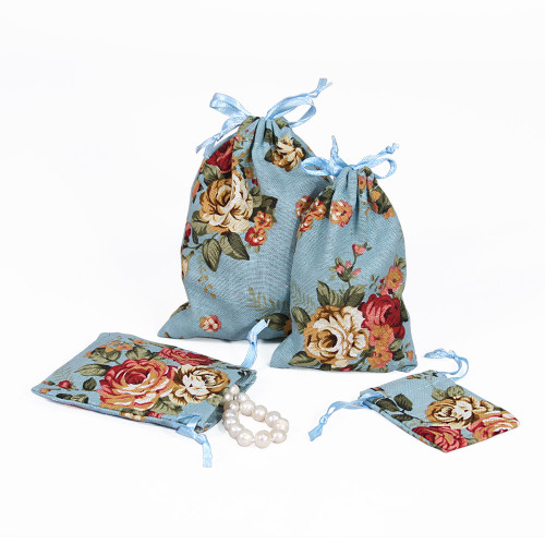 "3"" x 4"",Blue Floral Fabric Drawstring Pouch, price for Dozen,Buy More Save More"