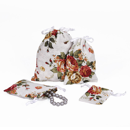 "3"" x 4"",White Floral Fabric Drawstring Pouch, price for Dozen,Buy More Save More"