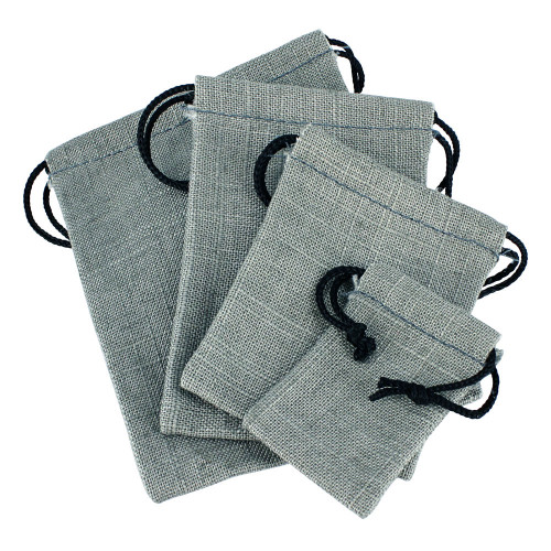 """3"""" x 4"""", Grey Linen Pouch, price for Dozen,Buy More Save More"""
