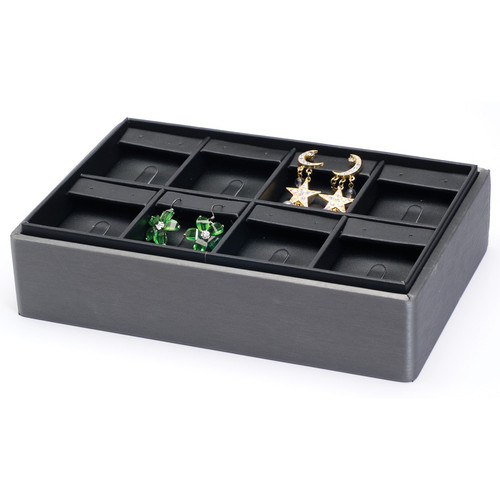 "2"" H Stackable Combo Earring/Ring Tray,  9"" x 6"" x 2 1/8"" H"