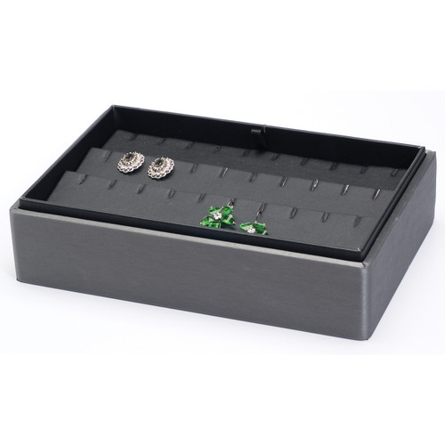 "2"" H Stackable Earring Tray,  9"" x 6"" x 2 1/8"" H F65-78R"