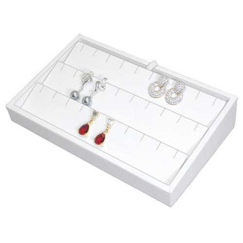 "2"" H Slanted Earring Tray,  9"" x 6"" x 2 1/4"" H TY-2102 (W)"