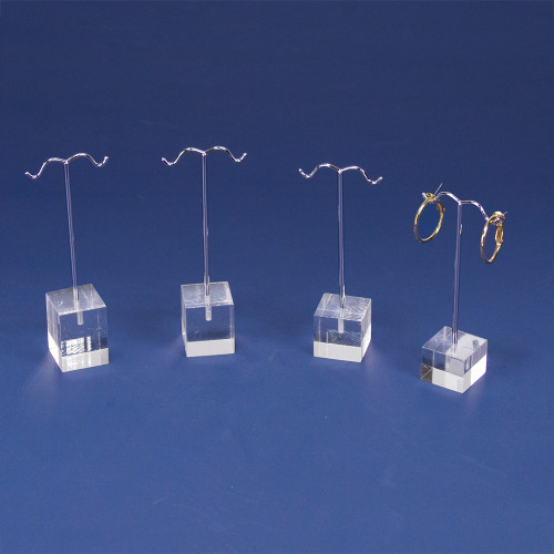 "4pcs- Clear acrylic earring display set, 1"" x 1"" x 4""H, 4 1/4""H, 4 1/2""H, 4 5/8""H"