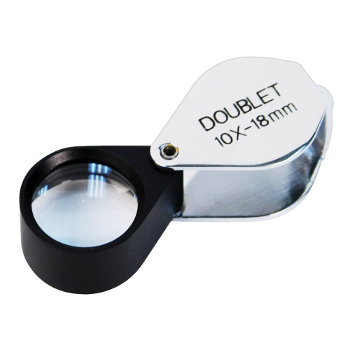 Doublet Glass Lens Loupe, 18 mm, Silver-Black