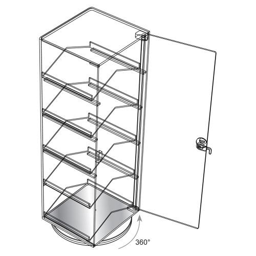 "Revolving Acrylic Case , 6 3/4"" x 7 1/2"" x 21 1/2""H"