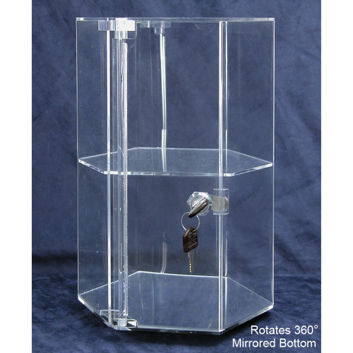 "Rotating Hexagon Acrylic Showcase (1 shelves), 8/ 1/4"" Dia x 12 7/8""H"