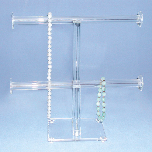 "Acrylic Double Round T-Bar, 10"" x 9 3/4""H, Assembly Require"