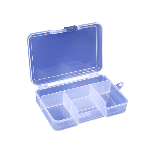 """Frosted plastic organizer - 5 compartment, 5 3/4' x 4"""" x 1 1/4""""H"""