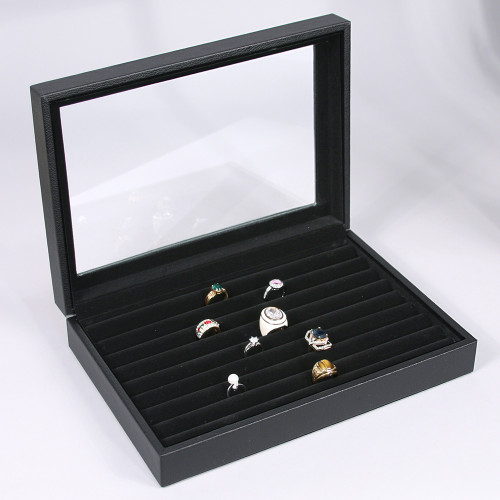"Glass Top Ring/Cufflink Case, 11 1/2"" x 8 7/8"" x 2 1/2""H,Black Faux Leather-Black Velvet Lining"