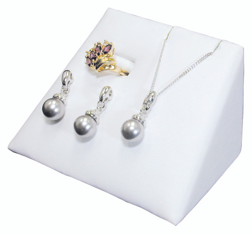 """Ring/Earring/Pendant Combo Display,White Leather,3.75x2.5x2.4""""H,"""