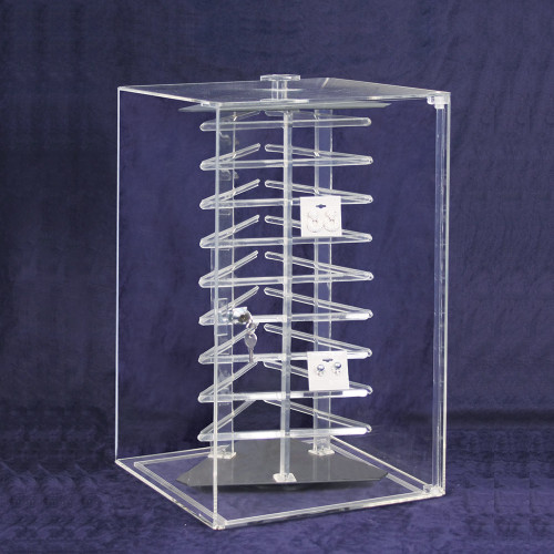 "Acrylic Revolving Earring Display Case , Holds 108 pcs. 2"" Cards, 12 1/2"" x 12 1/2"" x 21 1/2""H"